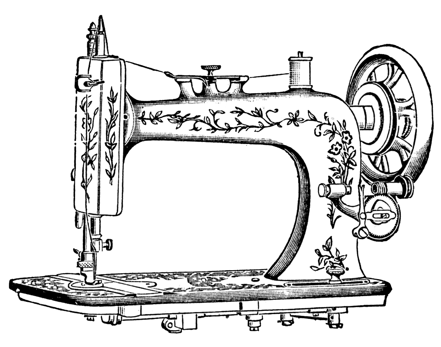 antique clip art pretty white sewing machine the graphics fairy. Black Bedroom Furniture Sets. Home Design Ideas