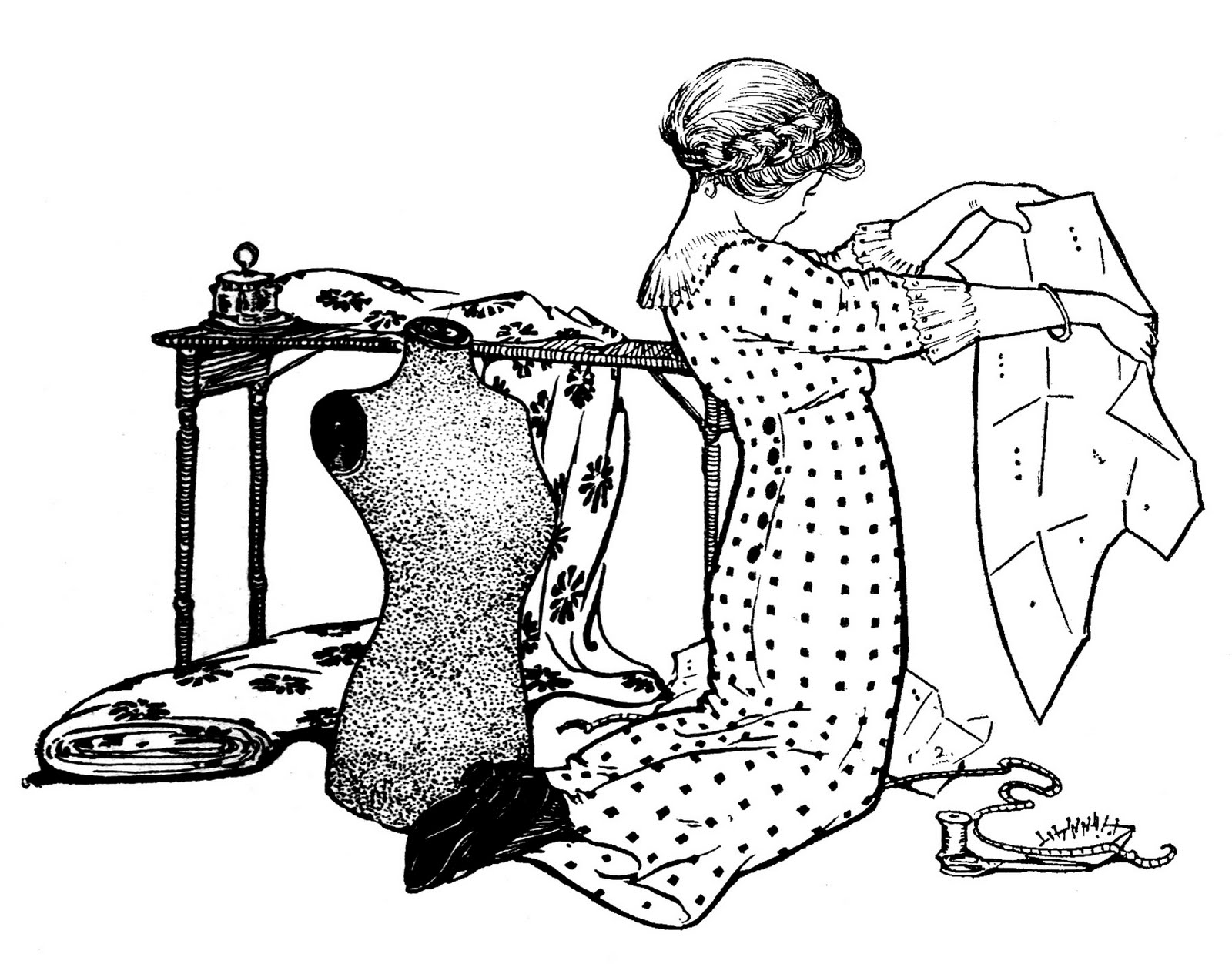 Vintage sewing clip art girl with pattern and dress form