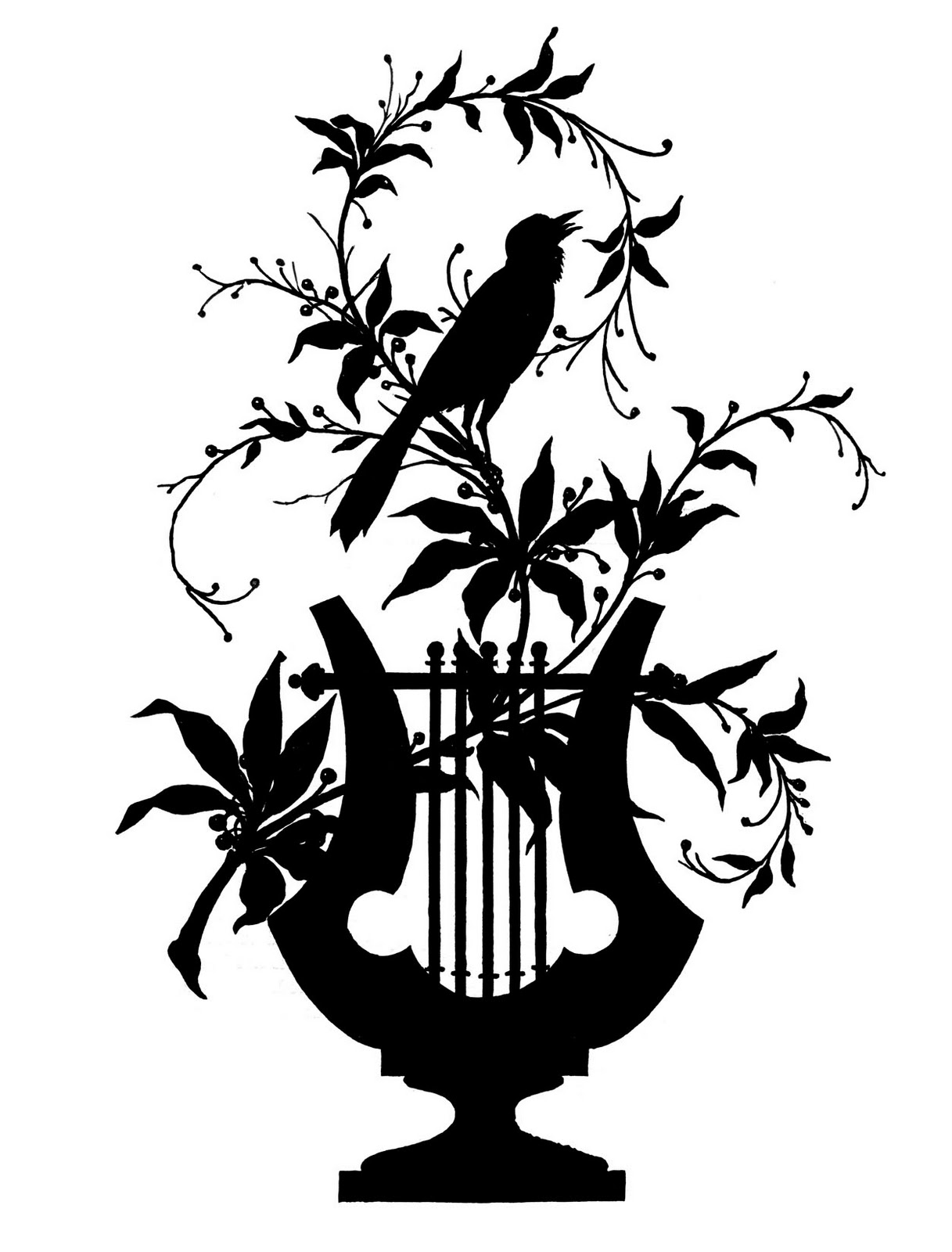Vintage clip art amazing silhouette bird vines lyre the graphics