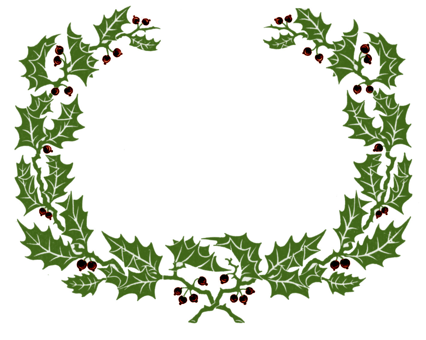 Vintage clip art holly wreath graphic frame the for Holl image