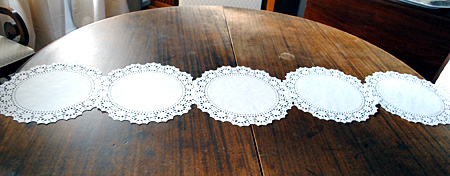 table doilies. Step 1: Lay Out Your Largest Doilies First. These Were About 12\u2033 Wide Each. You Will Build From Here Out. Table H