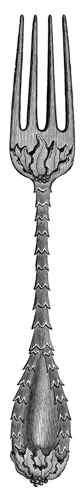 Vintage Clip Art Fancy Utensils Fork Spoon Knife The