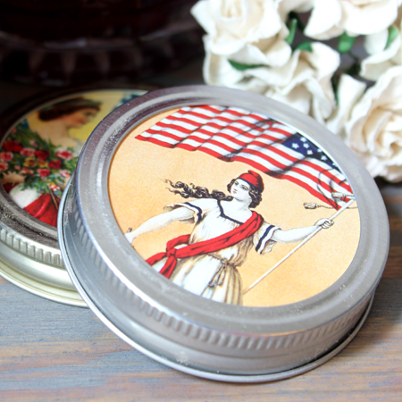 Patriotic Mason Jar Lids Craft Project 4th of July Tutorial
