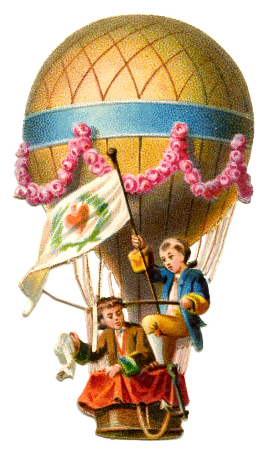 Vintage Graphic - Hot Air Balloon - The Graphics Fairy