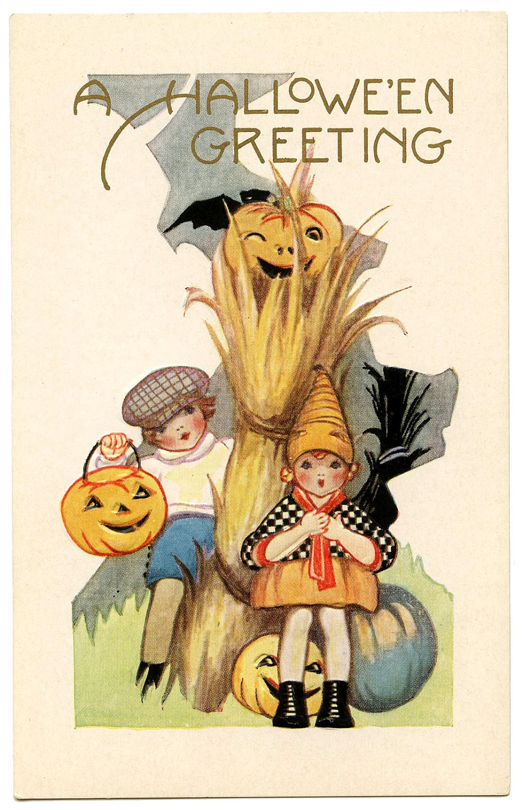 Vintage Halloween Graphic - Cute Kids with Pumpkins - The ...