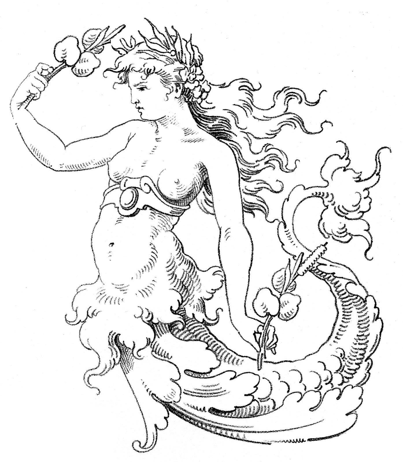 Old World Clip Art U2013 Wonderful Mermaid