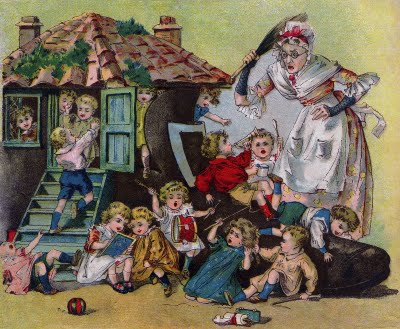 Victorian Clip Art - Old Woman who Lived in a Shoe - The Graphics Fairy