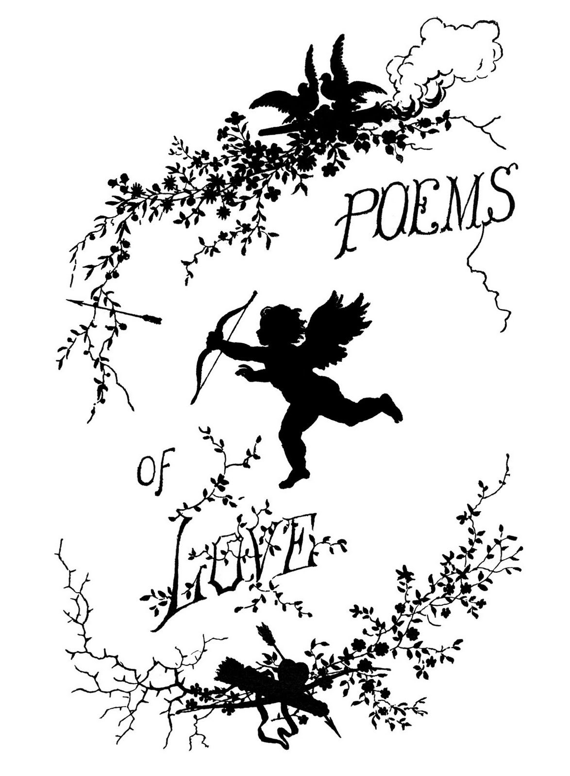 Vintage clip art poems of love silhouette cupid the for Graphics fairy