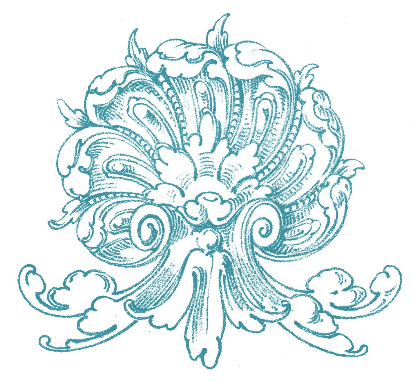 Vintage ornamental clip art shell with scrolls the for Design ornaments