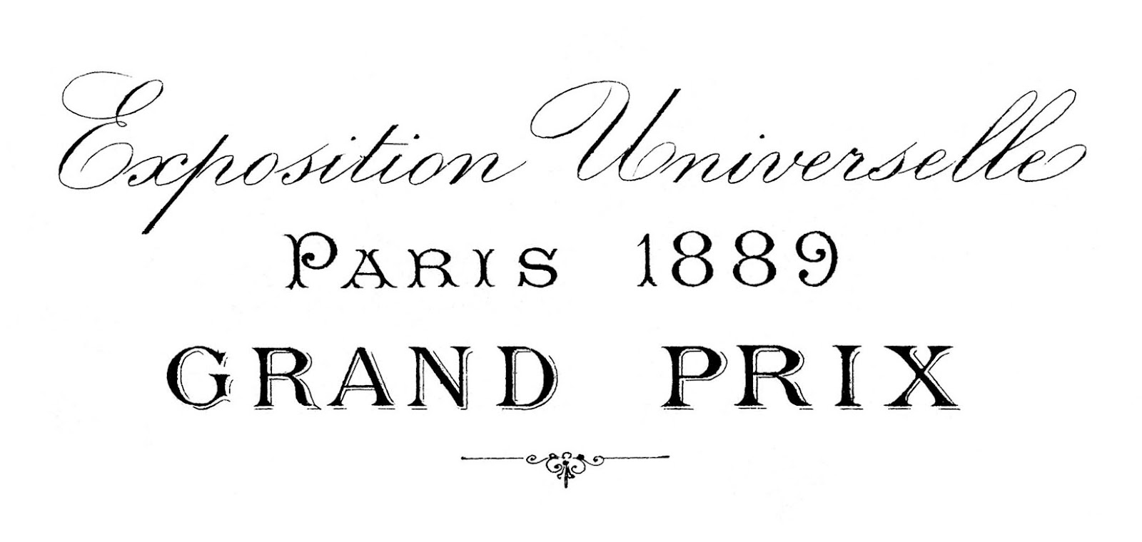 French Transfer Printable Paris 1889 Typography The