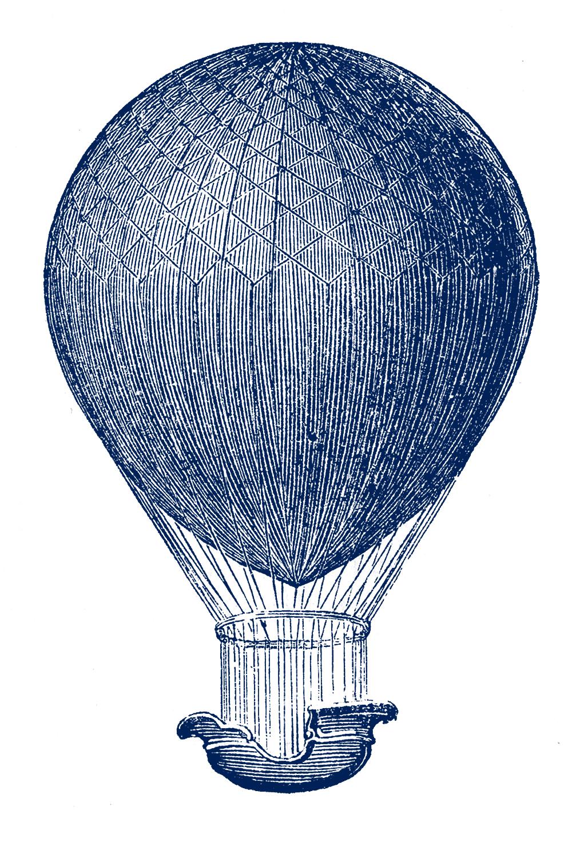 Steampunk Clip Art - Hot Air Balloons - The Graphics Fairy