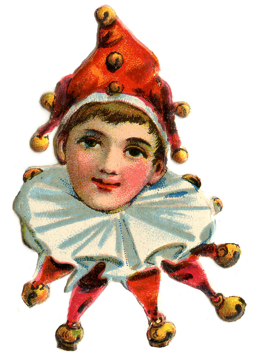 Vintage Images - Cute Elf Clowns - The Graphics Fairy