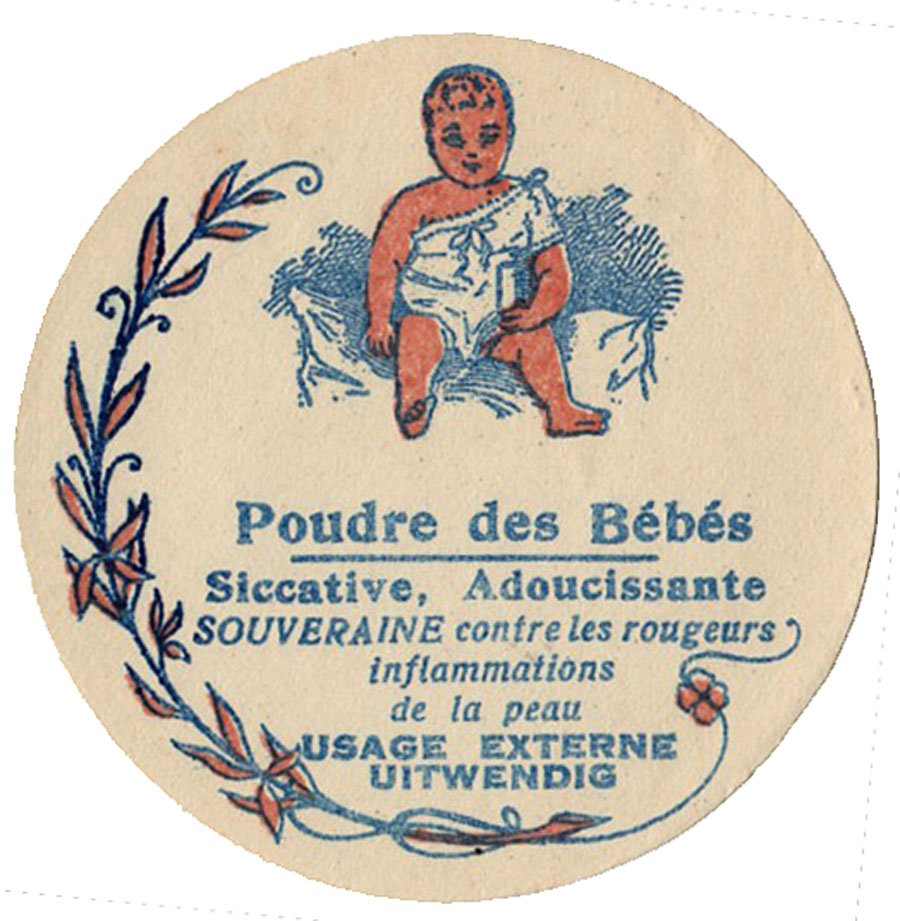 Adorable French Baby Powder Label - The Graphics Fairy