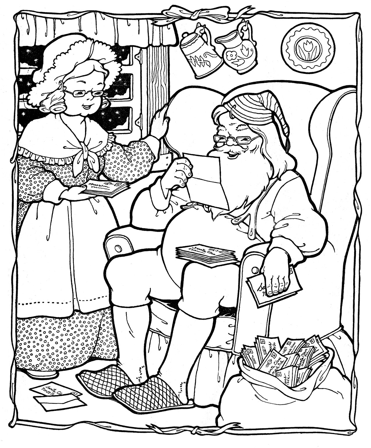 Christmas Santa The Mrs On Pinterest Xmas Printable Vintage Coloring Pages