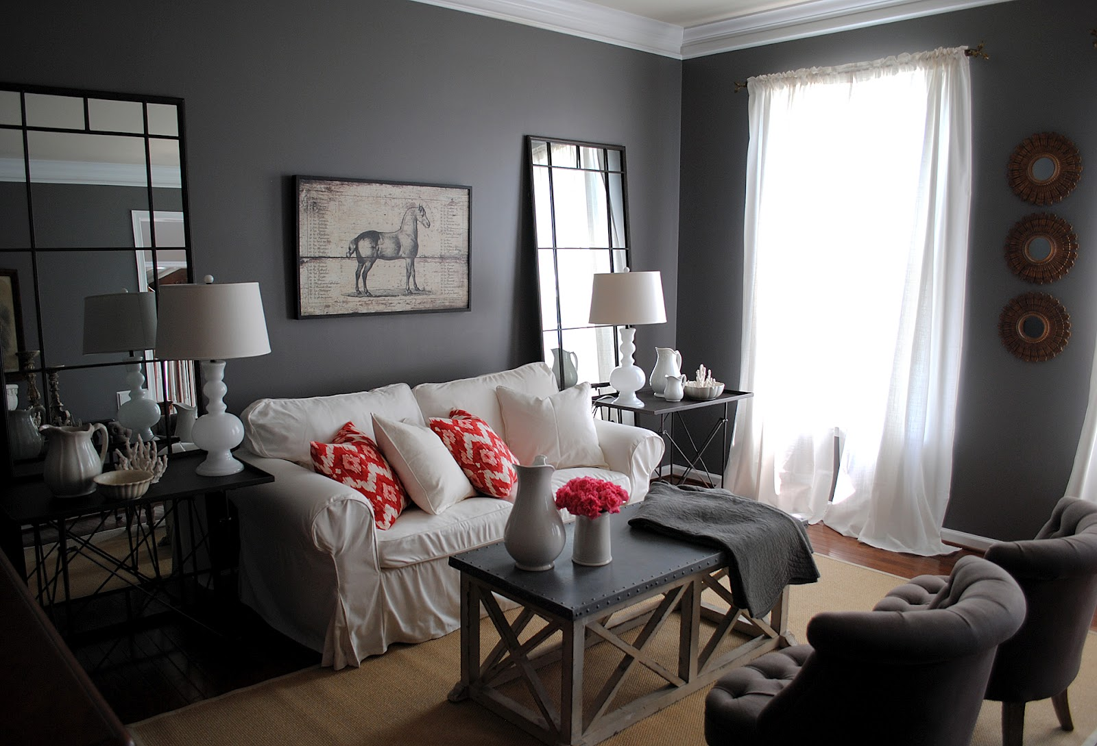 My living room the big reveal huge giveaway the for Living room gray walls
