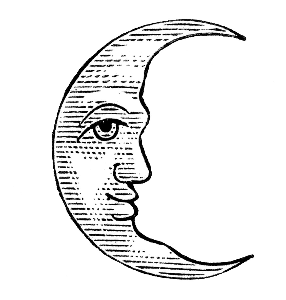 Line Art Moon : Antique clip art man in the moon crescent and full