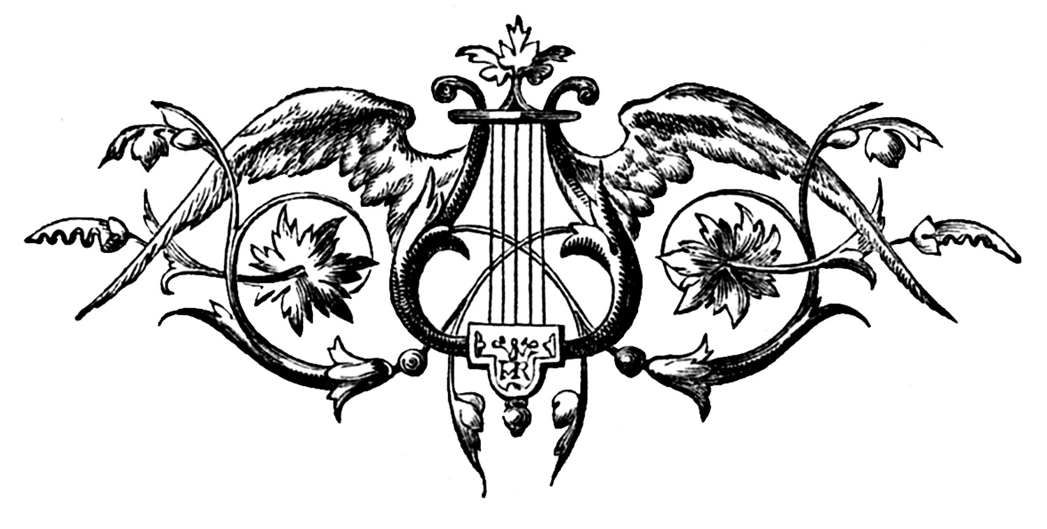 Vintage Clip Art – Printers Ornament – Harp with Wings