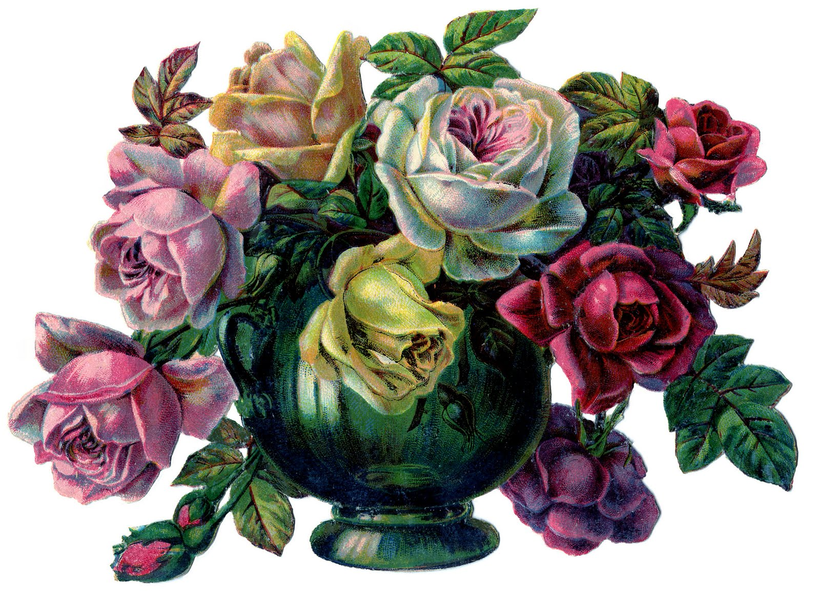 Victorian Image Gorgeous Roses In Vase The Graphics Fairy