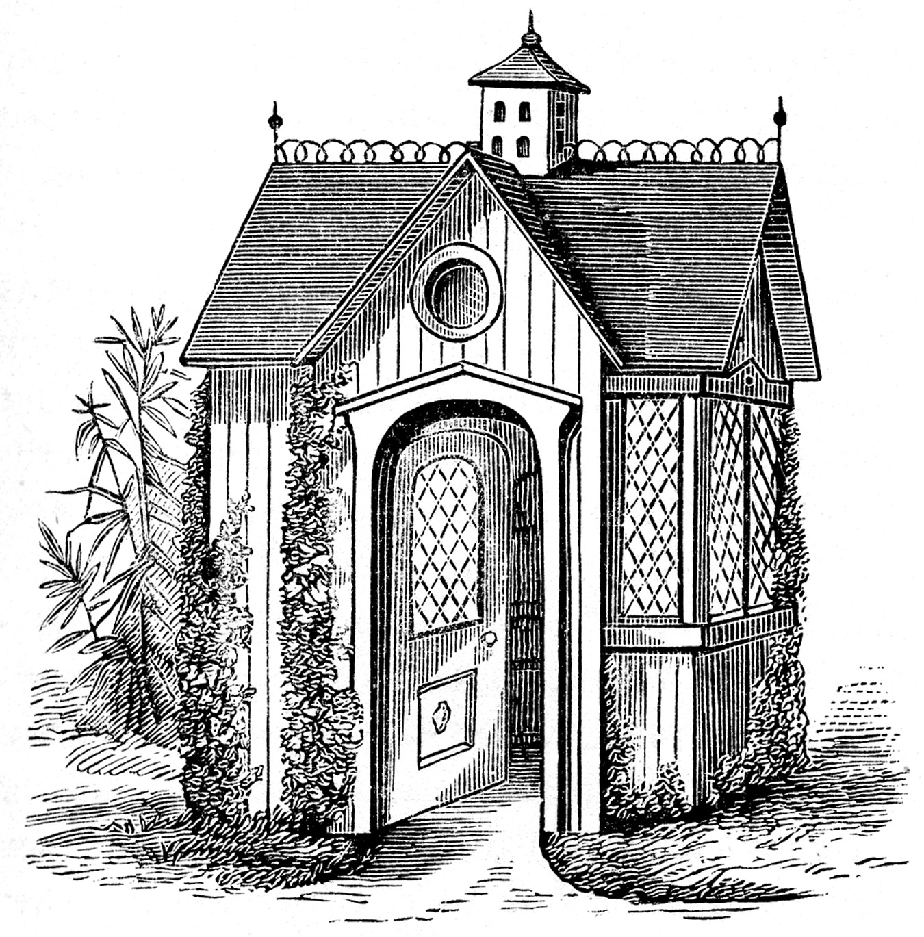 Free coloring pages for Victorian garden house