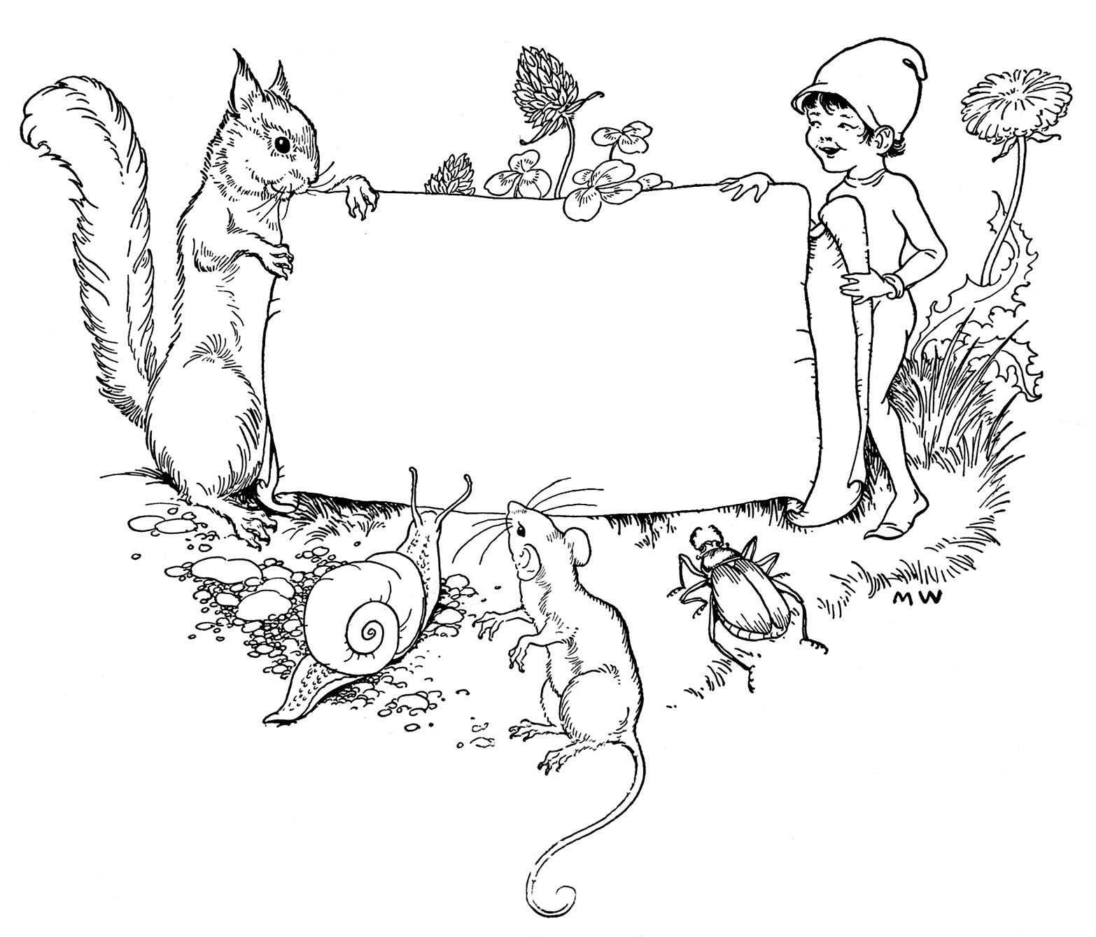 Vintage clip art children 39 s bookplate squirrel elf for Free printable bookplates templates