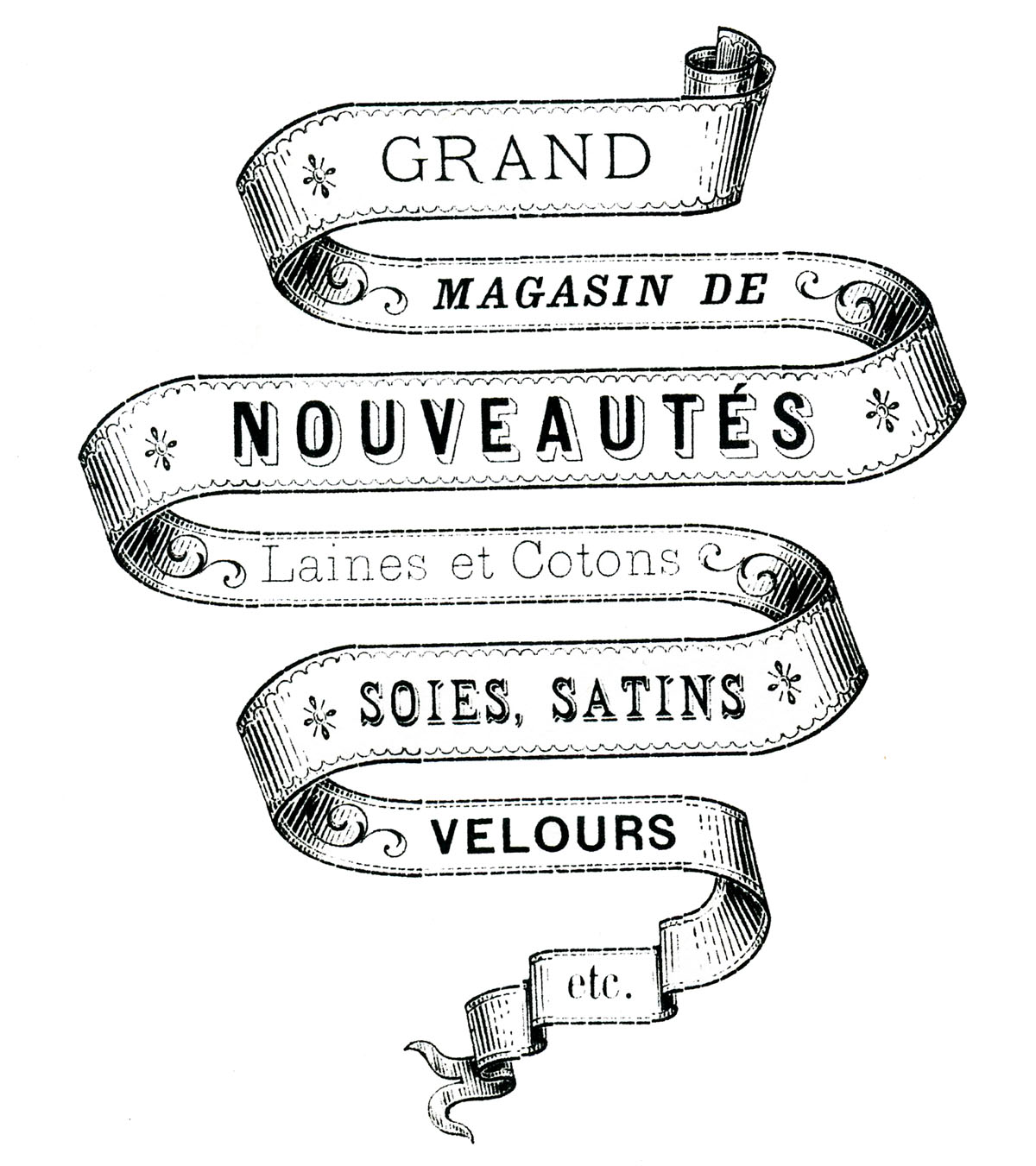 photo relating to Printable Ribbons referred to as French Shift Printable - Ribbon Banner - The Graphics Fairy