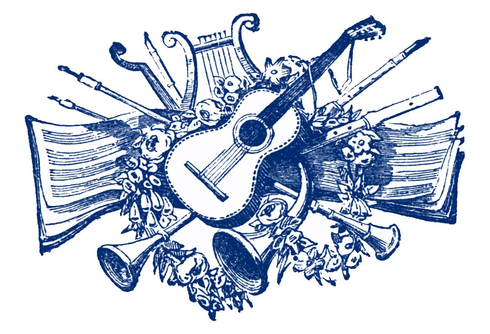 Line Drawing Music : Vintage clip art antique musical printers ornaments
