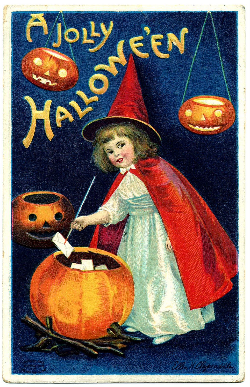 Vintage Halloween Clip Art  Sweet Little Witch Girl  The - Vintage Halloween