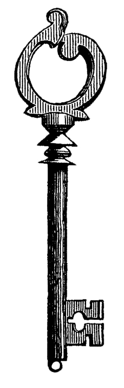 Vintage Clip Art - Skeleton Keys - Skull - The Graphics Fairy