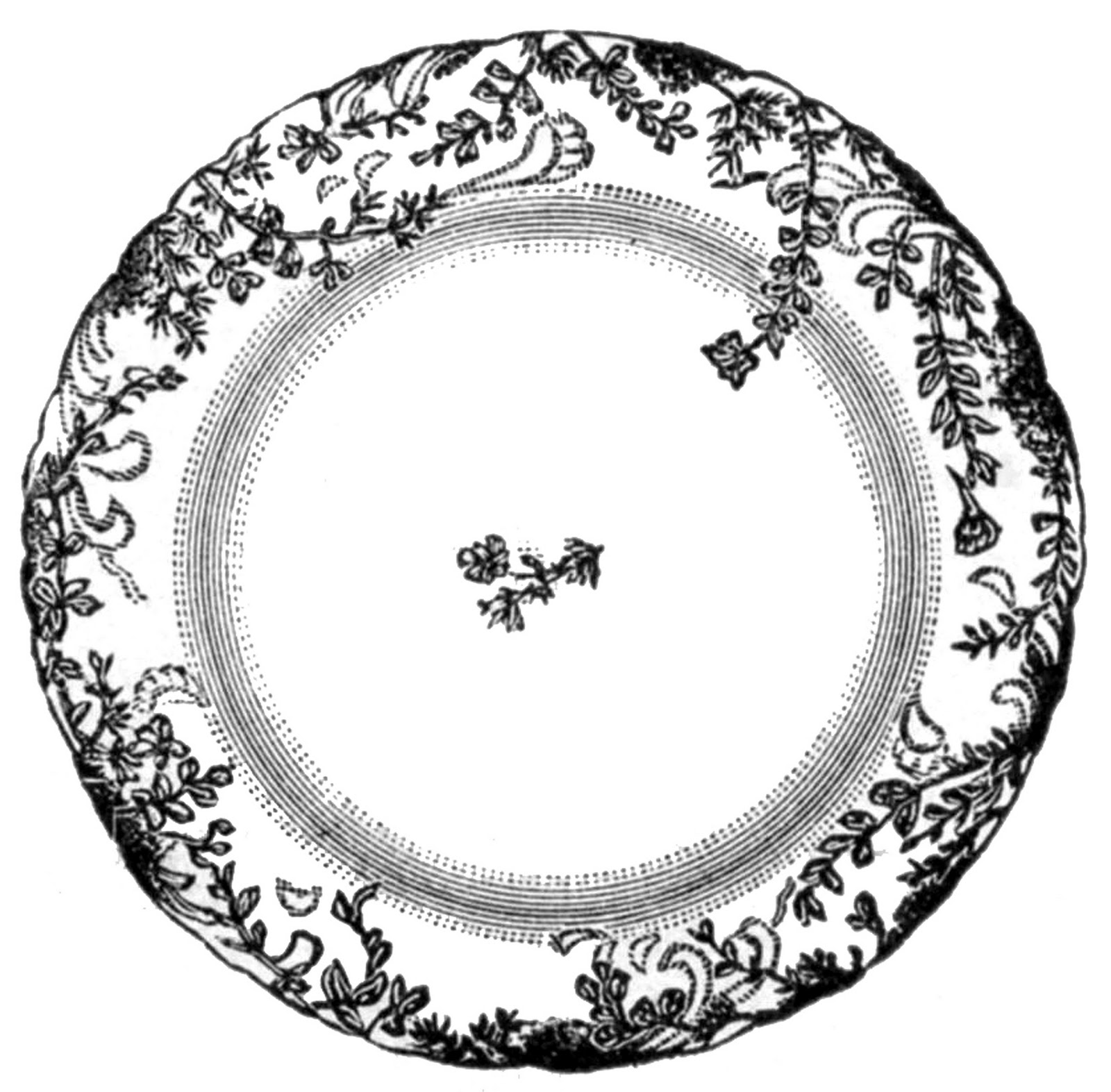 Vintage Clip Art - Antique China Plate - 4 Options - The Graphics Fairy