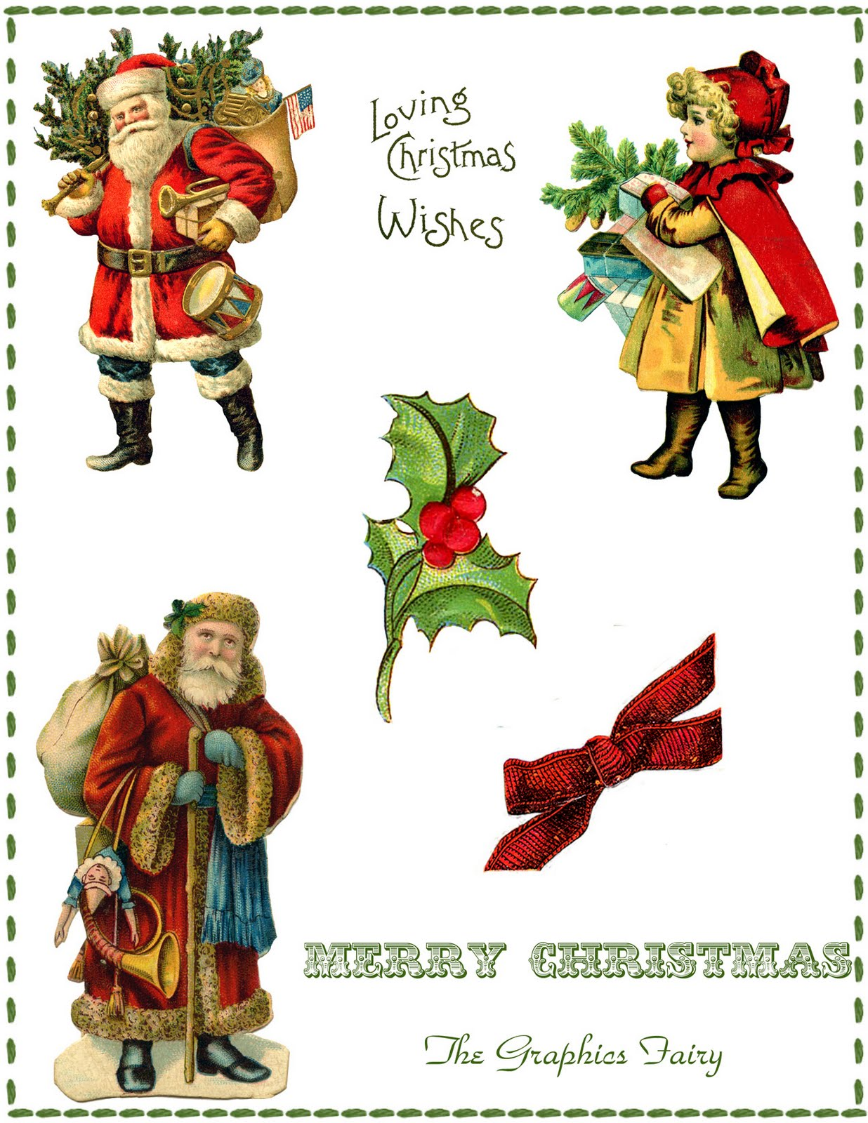 Vintage Christmas Collage Printable - The Graphics Fairy