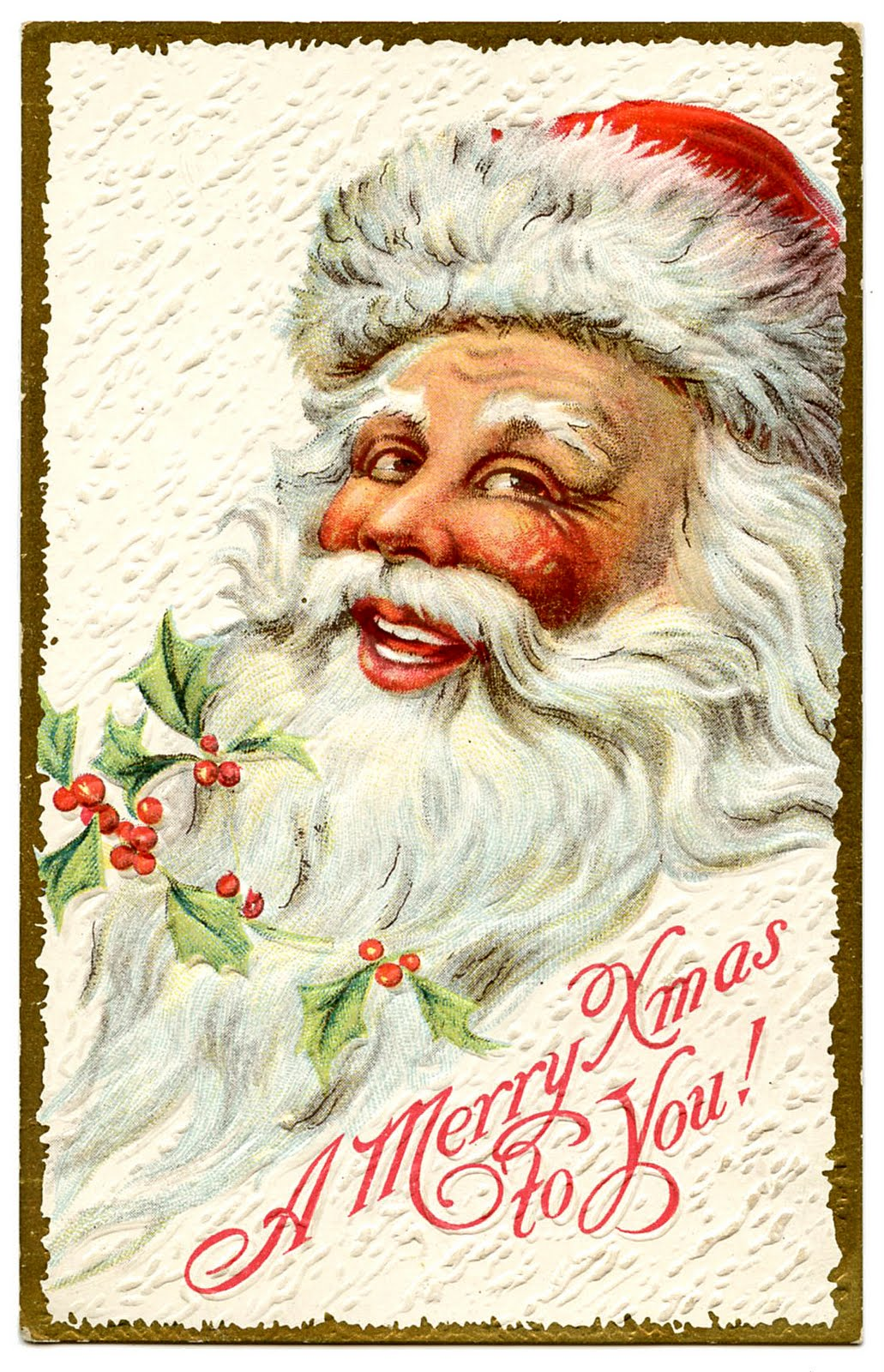 Vintage Christmas Clip Art - Jolly Santa - The Graphics Fairy