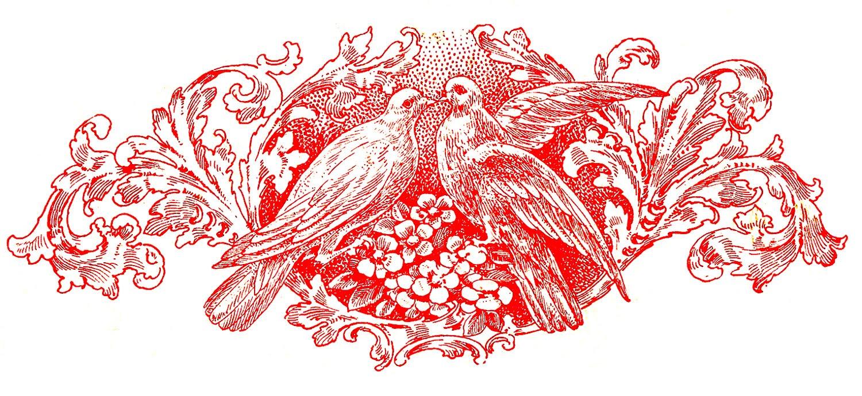 Vintage Wedding Image - Doves and Scrolls Ephemera - The Graphics Fairy