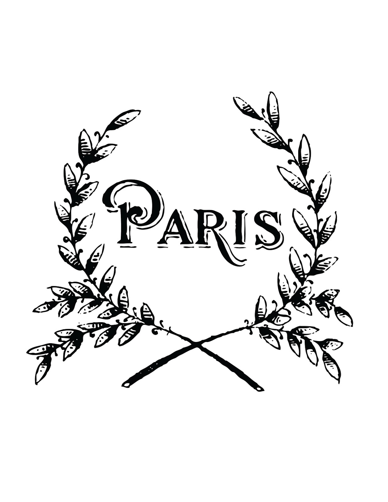 French transfer printable paris wreath the graphics fairy - The graphics fairy ...