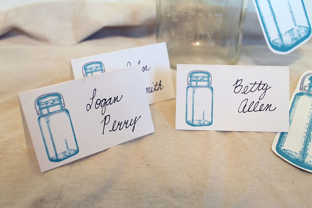 Mason Jar Wedding Place Cards Table Numbers
