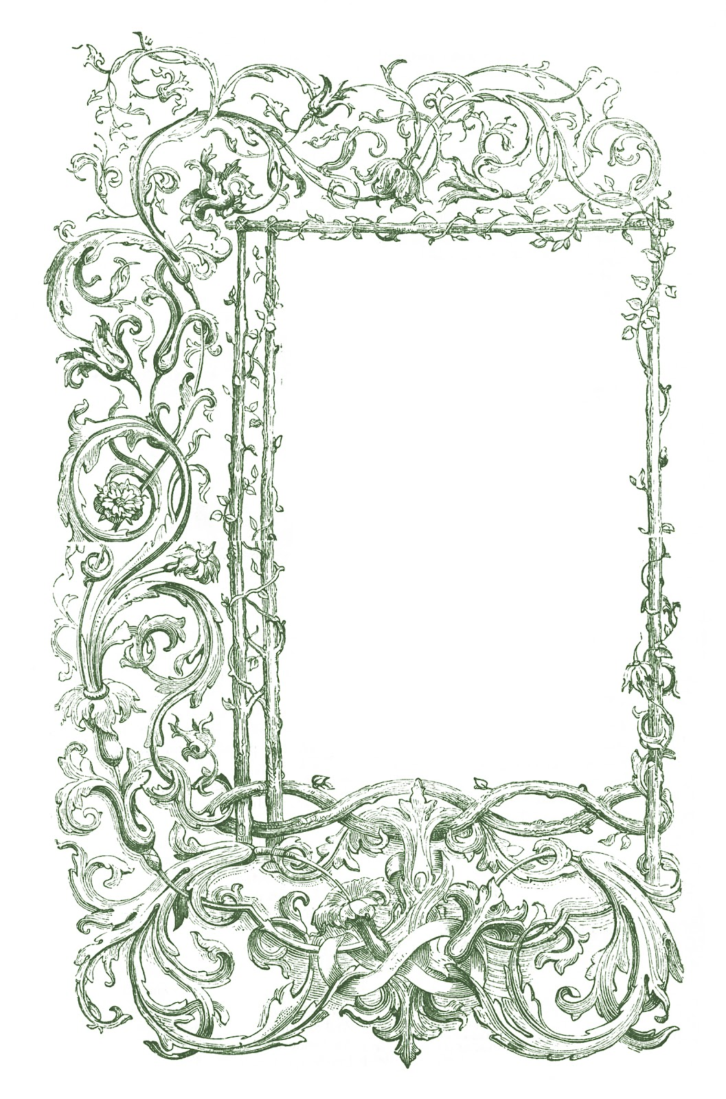 Vintage Clip Art - Faux Bois Frames with Scrolls - The ...