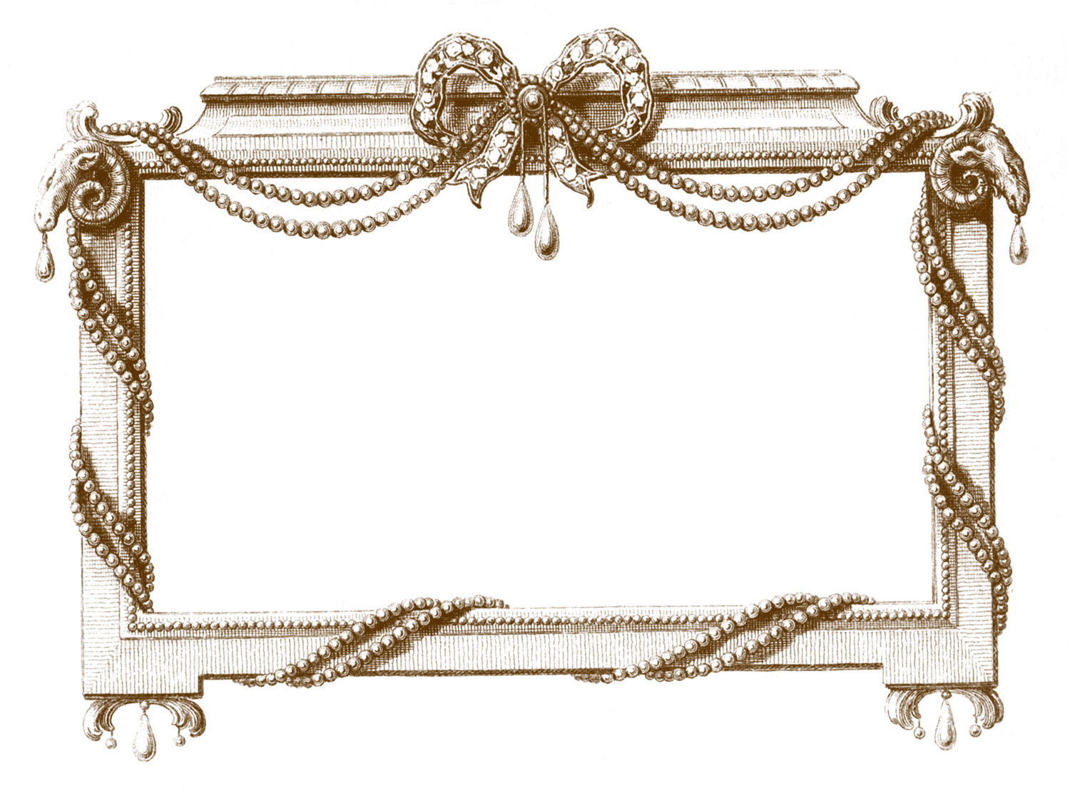 Antique Graphic Frame - Jewels and Pearls - The Graphics Fairy