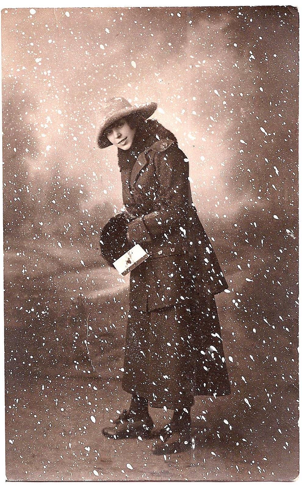 Old Photo Woman In Snow Scene Winter