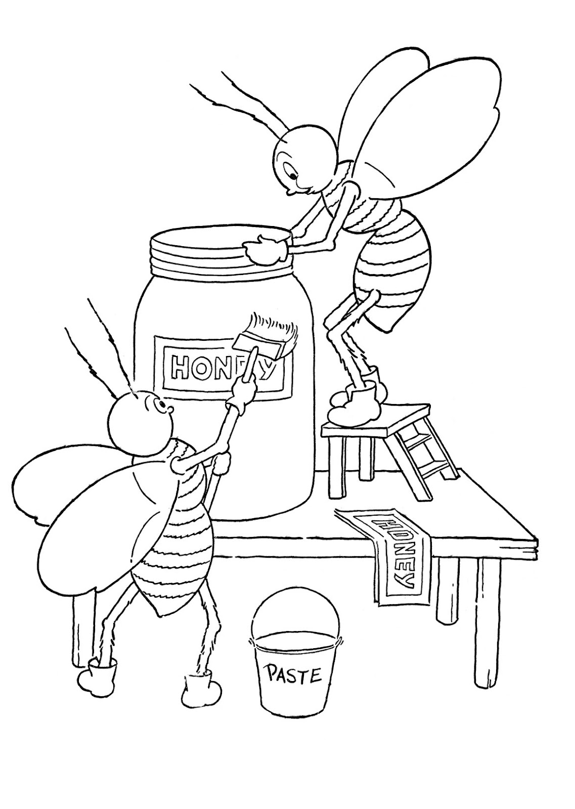 Kids Printable Honey Bees Coloring