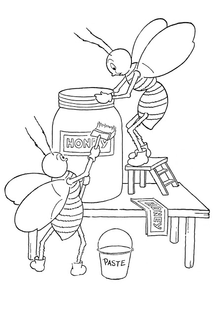Kids Printable Honey Bees Coloring Page The Graphics Fairy