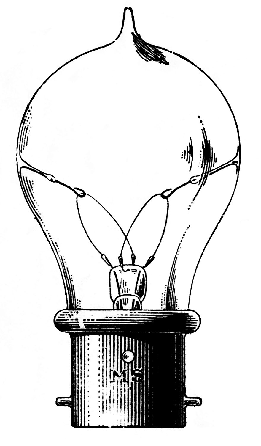 Vintage Clip Art - Old Fashioned Light Bulb - The Graphics Fairy for Black Light Bulb Clip Art  54lyp