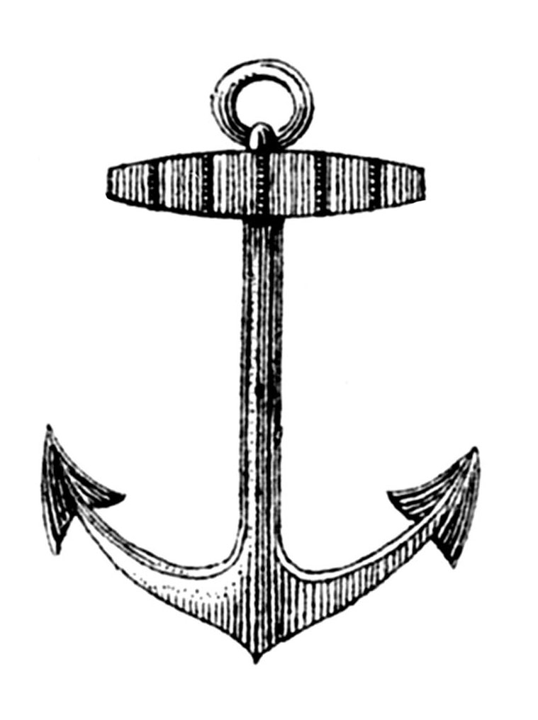 Line Drawing Anchor : Vintage clip art french label anchor round frame the
