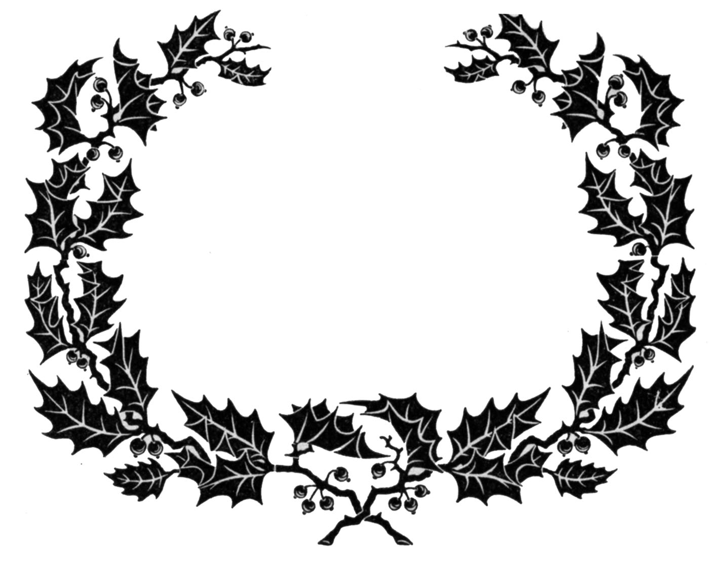 Vintage Clip Art - Holly Wreath Graphic Frame - The Graphics Fairy