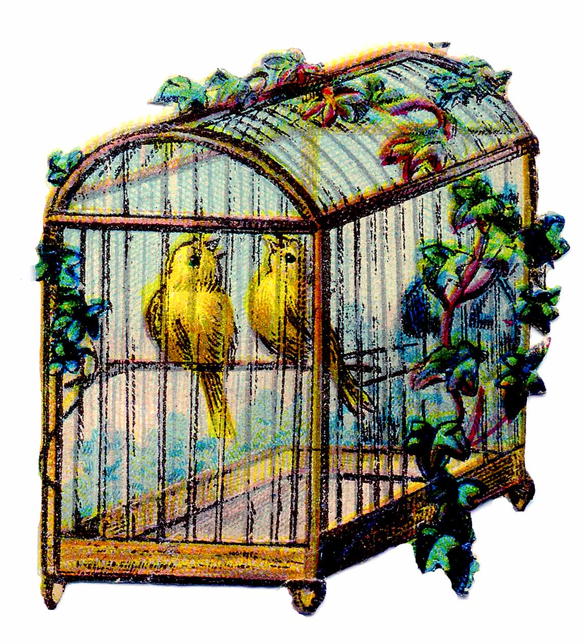 Vintage Clip Art - Canary Bird Cage - The Graphics Fairy