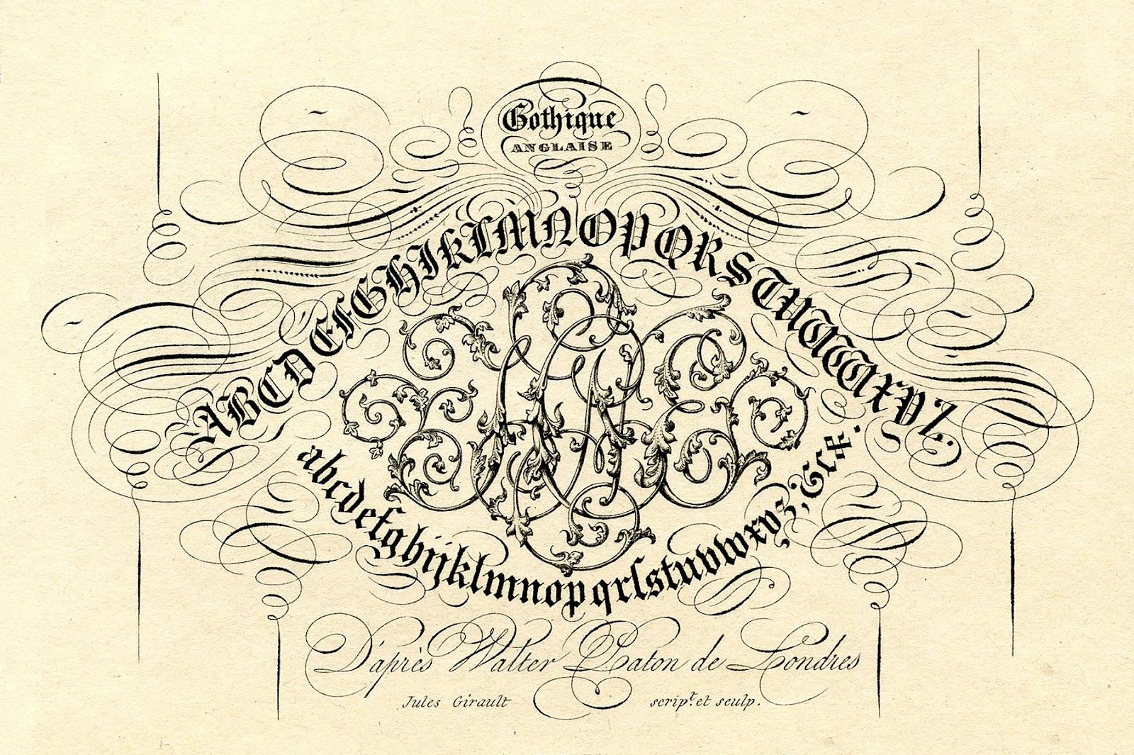 Antique Clip Art Pen Flourishing Typography