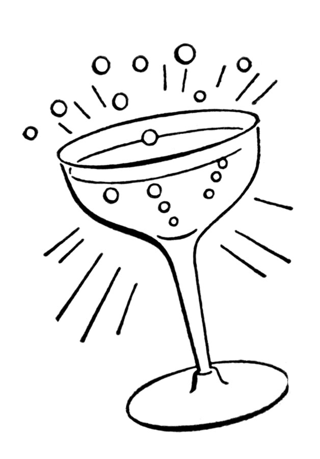 Retro Line Drawings - Cocktail Glass - The Graphics Fairy