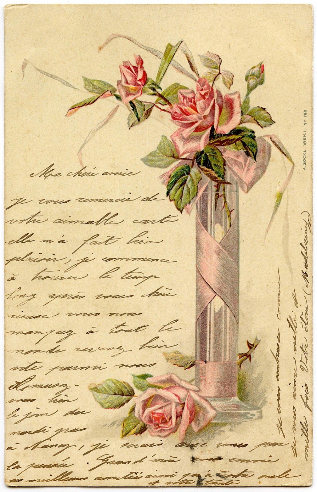 Romantic French Image Pink Roses Handwriting The