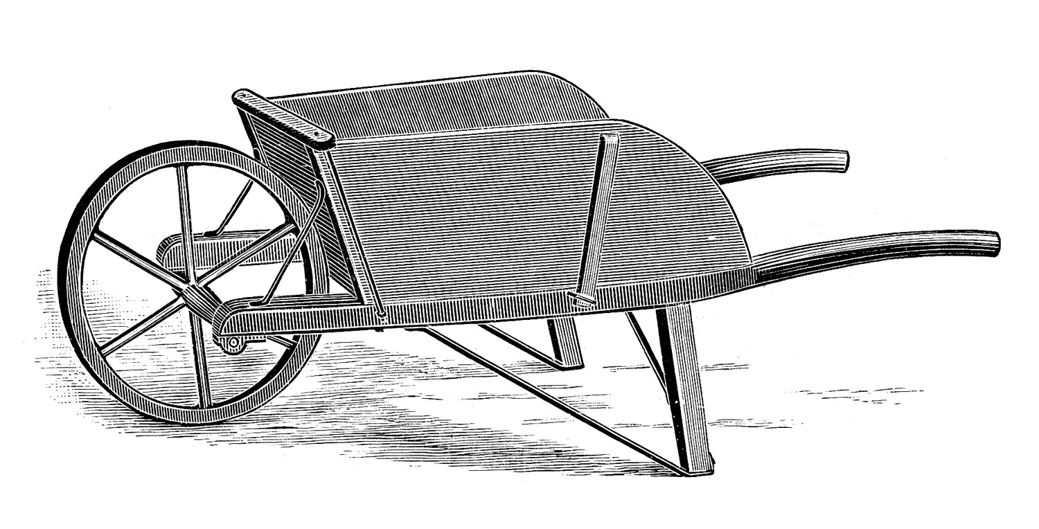 Vintage Clip Art - Old Fashioned Wooden WheelBarrow - The ...