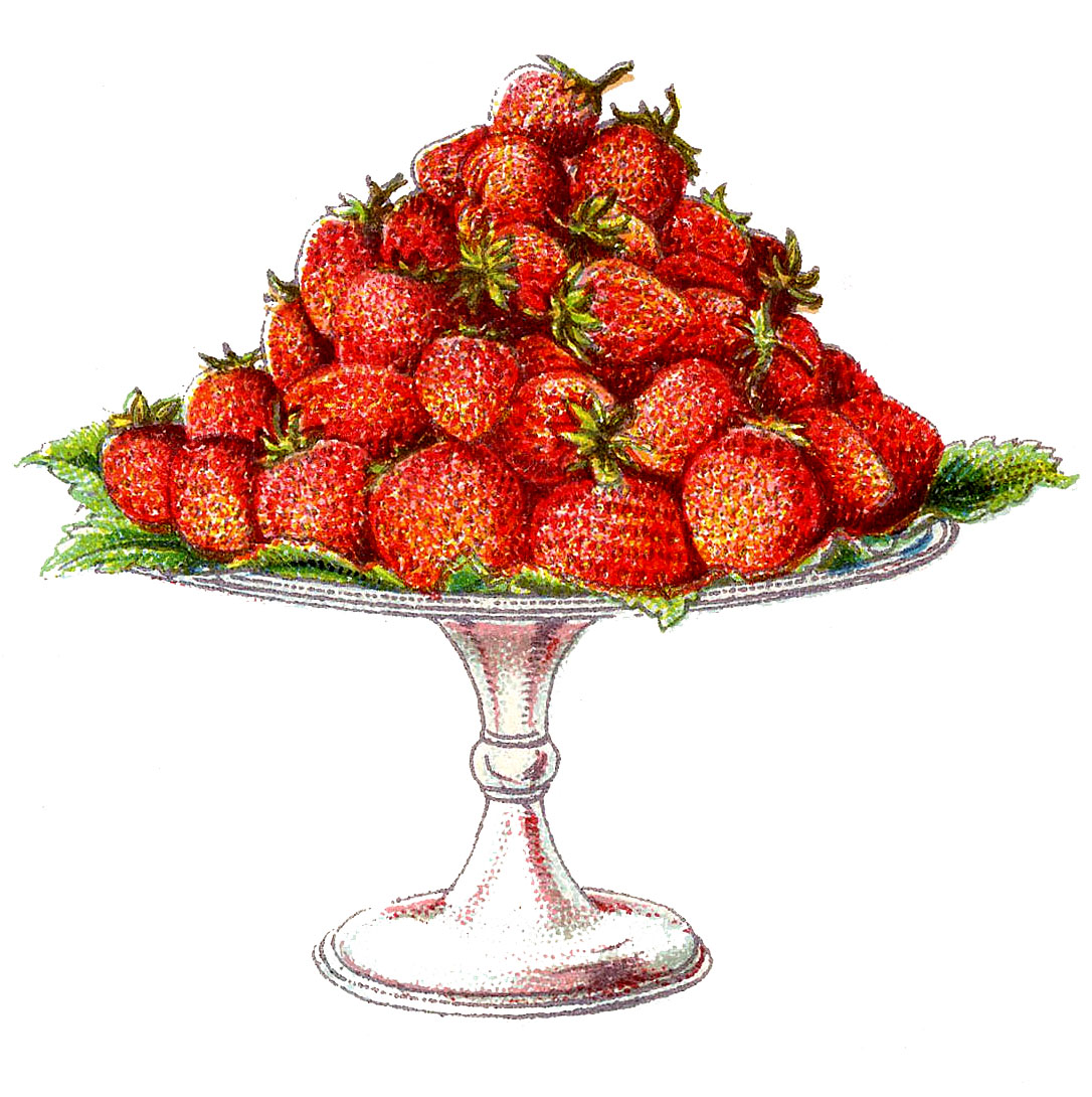 Vintage Clip Art Strawberries On A Cake Plate The