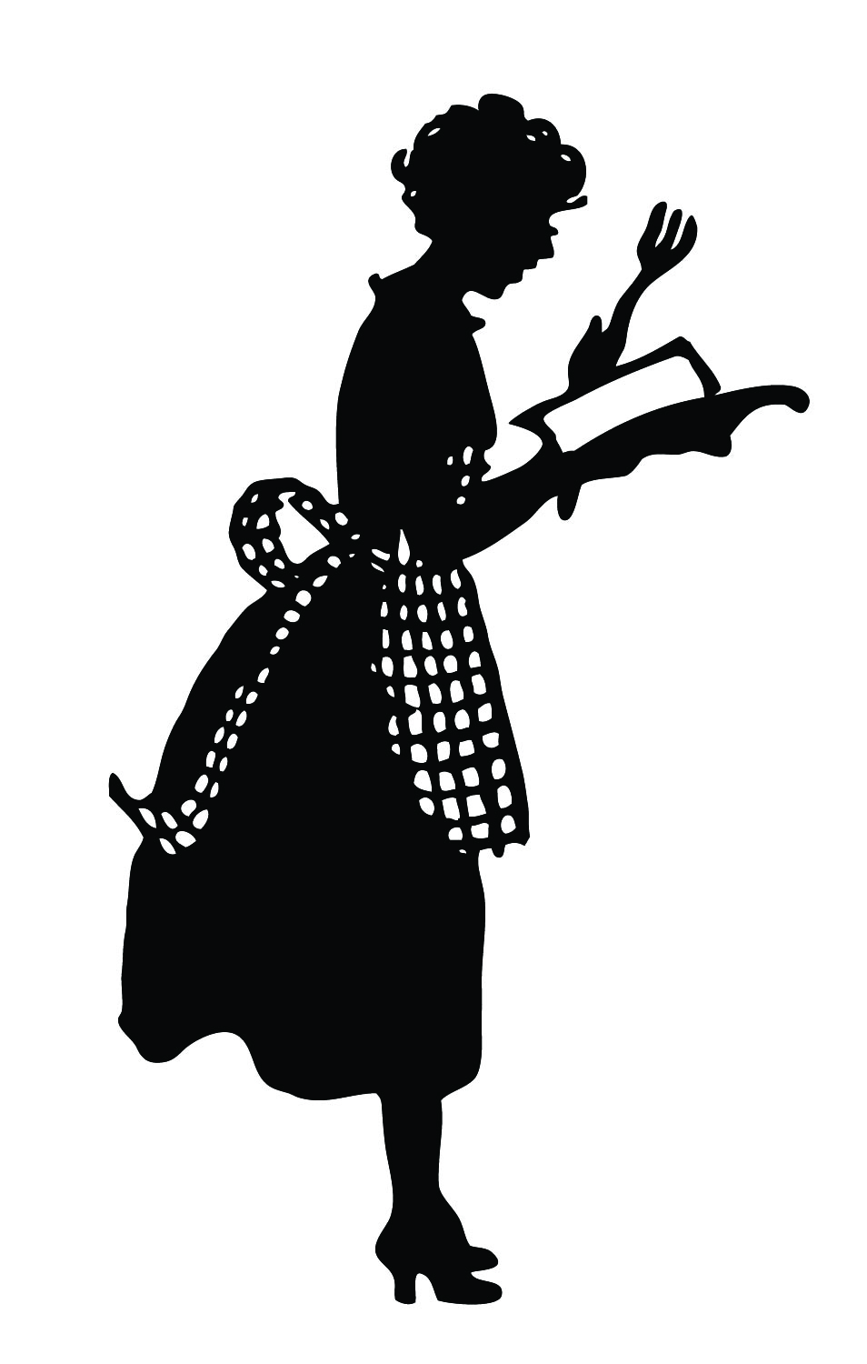 Vintage Silhouette - Cute Lady in Apron - The Graphics Fairy