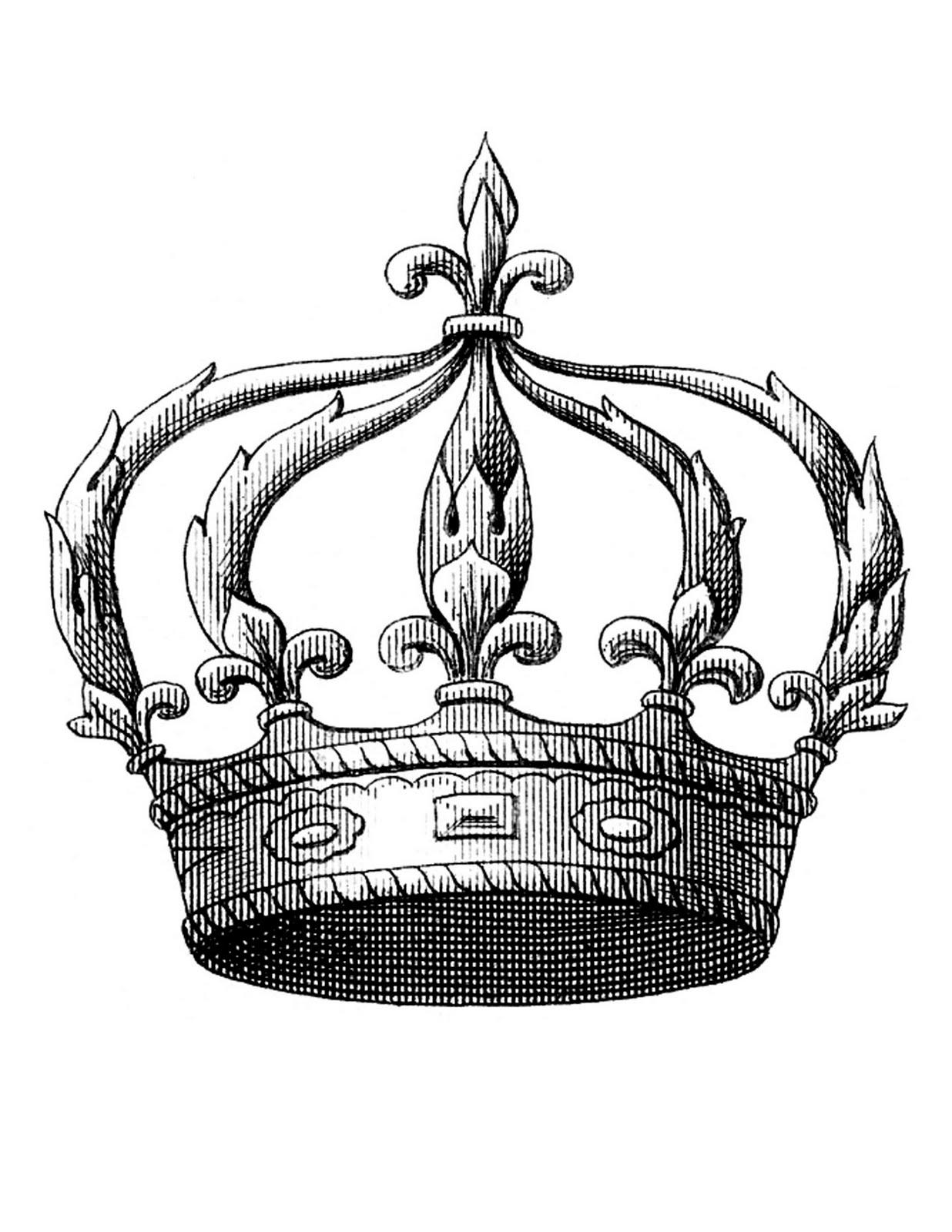Transfer Printable - Fleur de Lis Crown - The Graphics Fairy